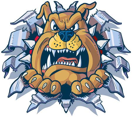 Vector Cartoon Clip Art Illustration von einem wütenden Bulldogge mit einem Stachelhalsband-Ripping, Stanzen, oder Reißen durch Aluminium oder Chromstahlblech.