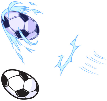 Vector cartoon clip art illustration template set for a custom character that plays soccer. 2 ball versions included: 1 with anime or manga style wave motion lines, 1 without. Impact and motion lines fit over the foot. Illusztráció