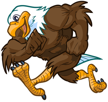 hawks: Vector cartoon clip art illustration side view of a tough but friendly and cute bald eagle mascot running.