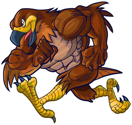 tough: Vector cartoon clip art illustration side view of a tough muscular hawk, falcon, or eagle mascot running.