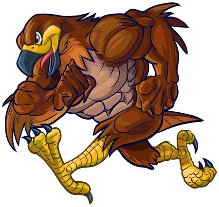 Vector cartoon clip art vista laterale illustrazione di un duro falco muscolare, falco o un'aquila mascotte esecuzione.