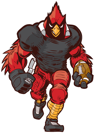 Vector cartoon clip art illustration front view of a tough cardinal football player mascot in uniform walking forward holding the game ball.