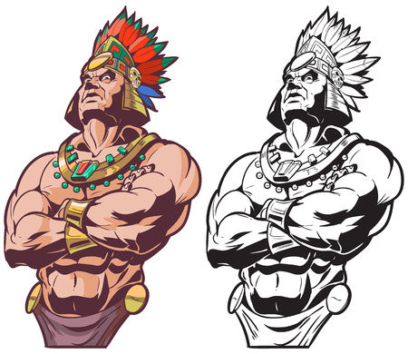 indian headdress: Vector cartoon clip art illustration bust of an Inca or Mayan or Aztec warrior or chief mascot looking tough and mean with crossed arms, in color and black and white.