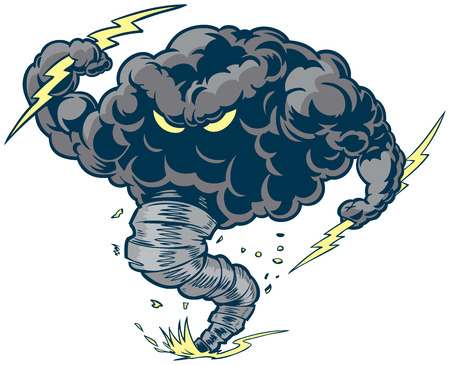 Vector cartoon clip art illustration of a tough thundercloud or storm cloud mascot with lightning bolts and a tornado funnel kicking up dust and debris. Illustration