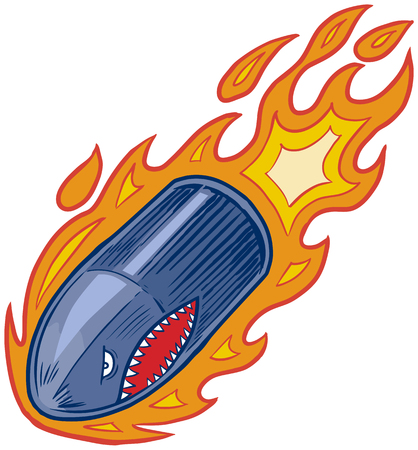 Vector cartoon clip art illustration of an angry bullet or artillery shell mascot in flames with a shark mouth face flying or diving downward. Stock Illustratie