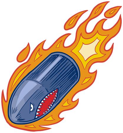 Vector de dibujos animados ilustración imágenes prediseñadas de una bala o proyectil de artillería de la mascota de ira en llamas con una cara de vuelo boca de tiburón o el salto hacia abajo.