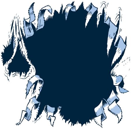 このベクトル漫画クリップ アート イラスト テンプレートは、背景の後ろに何かがリッピングまたは反対側にボロボロ穴を引き裂くように設計され  イラスト・ベクター素材