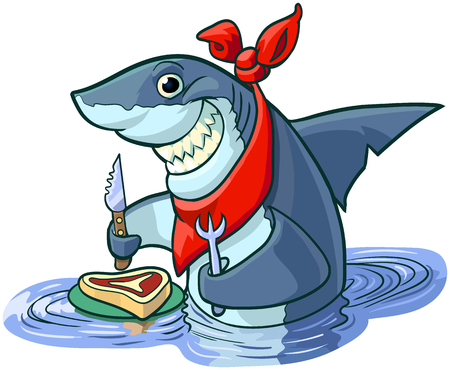 Vector cartoon clip art illustration of a cute happy smiling shark with a knife, fork, and bib, about to eat a steak on a plate. Illustration