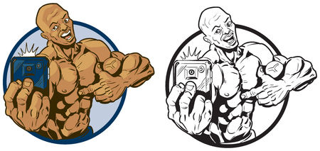 physically: Vector cartoon clip art illustration of a physically fit muscular african american man taking a selfie with a smartphone while pointing to himself. In color and black and white. Illustration