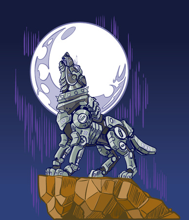 cartoon clip art illustration of a mechanical robot wolf baying or howling at the moon while standing on a cliff.