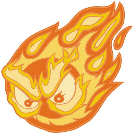 Illustration of a Fireball Mascot with Angry Eyes Illusztráció
