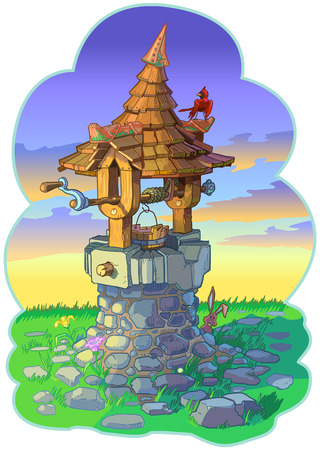 Vector cartoon clip art illustration of an old fantasy or fairy tale wishing well with a cardinal bird and a rabbit or bunny.