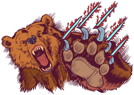 Vector Cartoon clip art illustration of a brown bear mascot slashing or clawing at the foreground. Ilustração