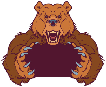Cartoon vector clip art illustration template of a brown bear mascot holding or gripping empty space between its claws. Vector layers are set up for easy placement of custom design elements under the paws.