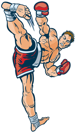 Vector cartoon clip art illustration of a kickboxer executing a high side kick toward the viewer. Illustration