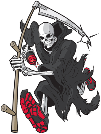 Vector cartoon clip art illustration of a Grim Reaper or Angel of Death running forward toward the viewer with a scythe, athletic shoes and a water bottle. Accessories are on separate layer.