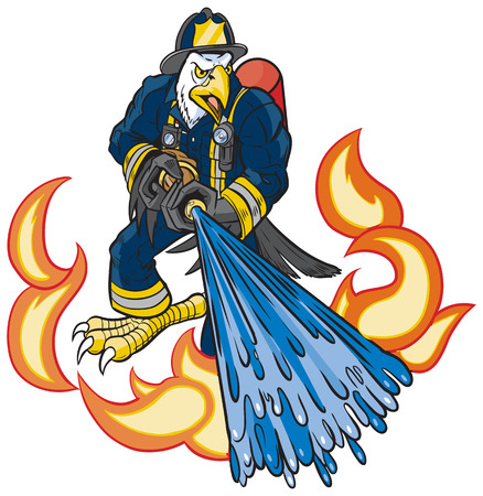 Vector cartoon clip art illustration of a tough mean bald eagle firefighter mascot in uniform spraying water on fire or flames with a hose. Illusztráció