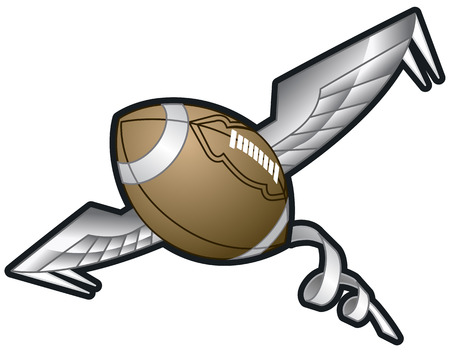 Vector Cartoon clip art illustration of a Spiraling Football with Wings flying through the air. Illustration