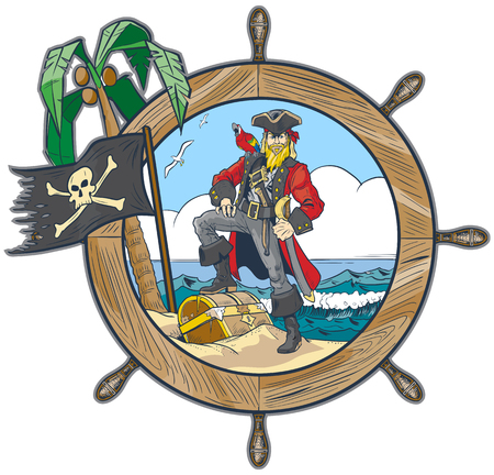 Vector cartoon clip art illustration of a pirate in a ship's steering wheel design with a flag, palm tree, parrot, seagulls, and a treasure chest on the beach.