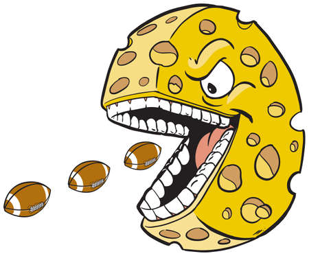 Vector cartoon clip art illustration of a cheese wheel or head mascot with a face and mouth eating footballs, which are on separate layer.