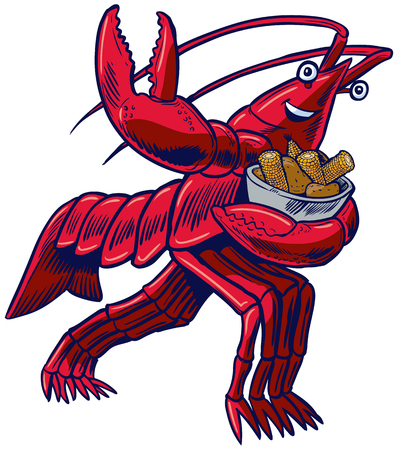 Vector cartoon clip art illustration of a crayfish, crawfish, crawdad, or lobster in the Heisman Trophy pose holding a bowl of corn and potatoes Иллюстрация