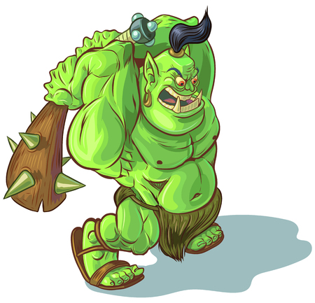 Vector cartoon clip art illustration of a tough mean muscular green orc or ogre or troll mascot with a spiked club poised to smash something. Line art and color fills are on separate layers. Club elements are separate also.