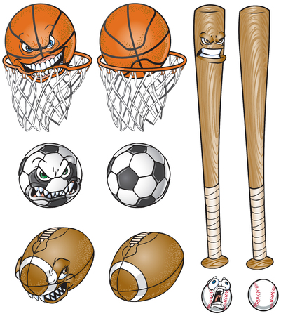 Vector cartoon clip art illustration set of a soccer ball, football, baseball and bat, and basketball and net, each one with and without a face.
