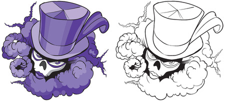 Vector cartoon clip art illustration of a female voodoo mascot with a feathered top hat , skull mask , and billowing smoke. In color and black and white. Illusztráció
