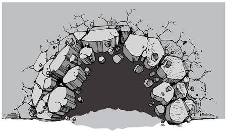 Vector beeldverhaal clip art illustratie van een grondniveau gat in een brede muur die breekt of explodeert in puin of puin. Ideaal als een aanpasbaar achtergrond grafisch element. Vector bestand is gelaagd voor eenvoudige aanpassing. Stock Illustratie