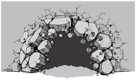 Vector cartoon clip art illustration of a ground level hole in a wide wall breaking or exploding out into rubble or debris. Ideal as a customizable background graphic element. Vector file is layered for easy customization.