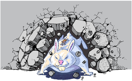Vector cartoon clip art illustration of a brown mouse riding a giant white rabbit or bunny crashing through a wall. Vector file is layered for easy customization. Illustration