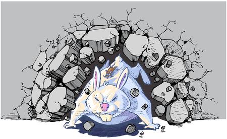 Vector cartoon clip art illustration of a brown mouse riding a giant white rabbit or bunny crashing through a wall. Vector file is layered for easy customization. Illusztráció