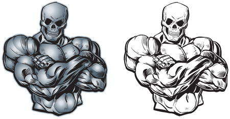 Vector cartoon clip art illustration of a scary tough muscular male torso with arms crossed and a skull for a head or face. In color and black and white.