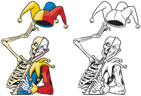 Vector cartoon clip art illustration of a scary half skeleton half joker or jester or harlequin tipping his hat with bells and holding a mask on a stick. In color and black and white.