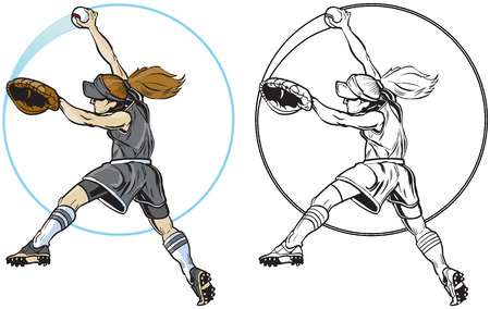 Vector clip art cartoon illustration of a caucasian girl or woman pitching a softball from a side view. A blue circle streak follows the ball. In color and black and white.