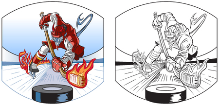A Vector cartoon clip art illustration of a devil mascot in uniform playing ice hockey, leaving a trail of fire behind his skates, hitting a puck with a flaming stick. In color and black and white.
