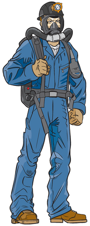 Cartoon clip art illustration of a coal mine rescue worker in uniform with equipment. Vectores