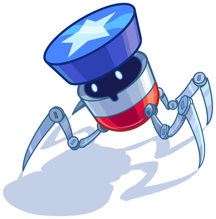 Cartoon clip art vector illustration of a patriotic American spider or bug or insect robot with a star shape button or bumper on its head. Elements on separate layers. Illusztráció