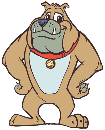 Vector cartoon clip art illustration of a strong but friendly bulldog mascot