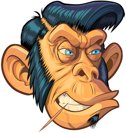 Vector cartoon clip art illustration of a tough mean chimpanzee monkey mascot head with blue eyes, a toothpick, and a hipster or greaser hair style with sideburns.