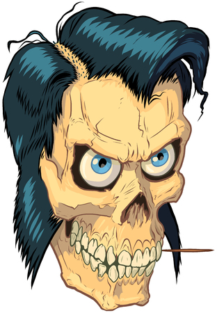 Vector cartoon clip art illustration of a tough mean human skull mascot head with blue eyes, a toothpick, and a hipster or greaser hair style with sideburns.