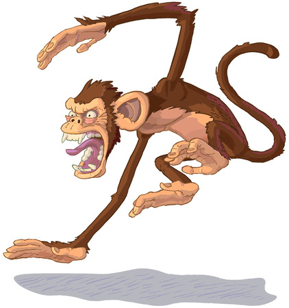 Vector cartoon clip art illustration side view of an angry chimpanzee monkey mascot jumping and yelling or screaming.