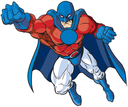 Vector cartoon clip art illustration of a muscular male superhero in a mask and cape in patriotic red white and blue colors. Illusztráció