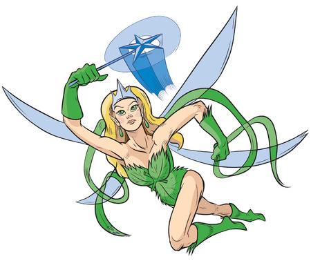 Vector clip art illustration of a female superhero with a woodland fairy princess theme featuring a crown, star magic wand, and wings drawn in a comic book style flying pose.
