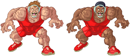Vector cartoon clip art illustration of tough mean intimidating Caucasian and African American wrestler mascots wearing singlets in a crouching position while yelling. Elements in separate layers.