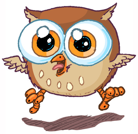 Vector cartoon clip art illustration of a cute and happy owl mascot jumping in the air and hooting.
