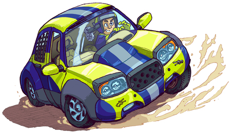 Vector cartoon clip art illustration of a rally car with driver spinning out or drifting or skidding in a race. Elements in separate layers.