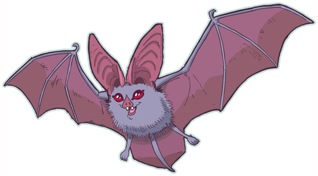Vector cartoon clip art illustration of a cute leaf nose bat with big ears, red eyes, and spread wings. Elements in separate layers.