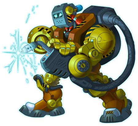 Vektor-Karikatur-ClipArt-Illustration eines harten Maskottchens des humanoiden Schweißroboters unter Verwendung einer MIG-Schweißpistole, die an seinem Arm befestigt ist. Ideal für Bau- oder Reparaturthemen. Körperteile sind in getrennten Schichten.