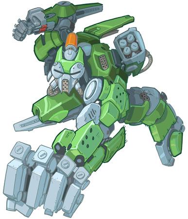 Vektor-Karikatur-ClipArt-Illustration eines harten humanoiden grünen Soldatenroboter-Maskottchens, das springt und einen Schlag in einem Manga-Comic-Stil wirft. Linien und Farben auf separaten Ebenen.